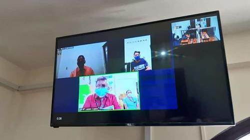 El primer juicio virtual se realizó en el Tribunal de Sentencia de Suchitepéquez. (Foto: MP)