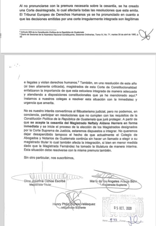 Los tres magistrados que anuncian que ya no integrarán el pleno de la CC hasta que se defina que Neftalí Aldana debe ser cesado en las funciones.