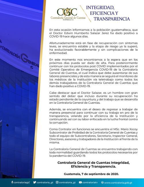 Comunicado de prensa sobre el estado de salud del contralor. (Foto: CGC)