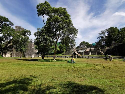 El personal cuidando el área verde en el Parque Nacional Tikal. (Foto: Ricardo Obando)
