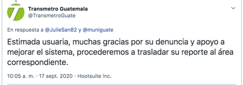 La respuesta desde la cuenta de Twitter del Transmetro.