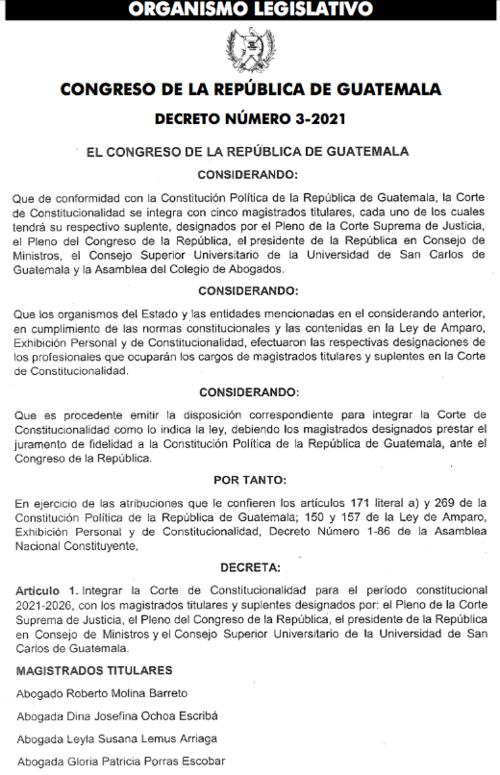 Congreso, magistrados, integración CC