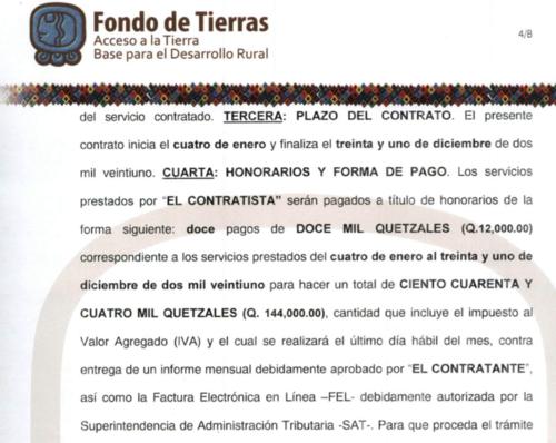 Fontierras le paga Q12,000 al mes a Estrada Castro. (Foto: captura de pantalla)
