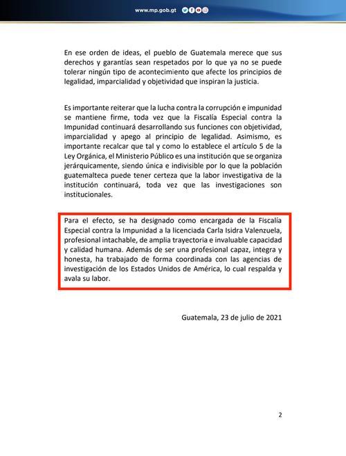 En el comunicado del 23 de julio no se hace referencia a que su cargo sea temporal, como se mencionó 12 días después. (Imagen: archivo/ MP)