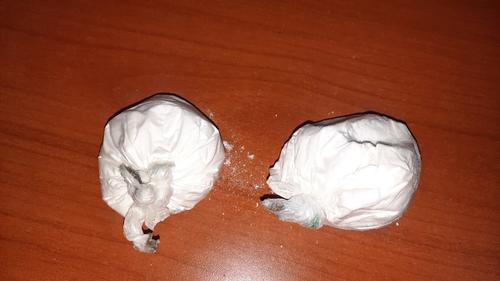 Esta es la cocaína que fue encontrada en el interior de la cartera, según las autoridades. (Foto: PNC)