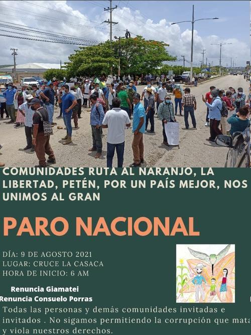 Desde Petén saldrá una de las marchas para unirse al paro plurinacional del 9 de agosto. (Foto: comunicadas del Petén)
