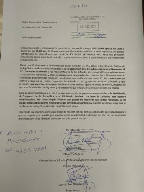 Los veteranos dieron el aviso a Gobernación Departamental de la manifestación que pretenden realizar este 9 de agosto. (Documento: Veteranos Militares)