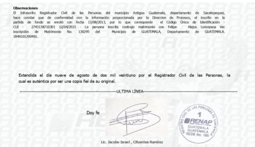 En el certificado se lee que en abril pasado contrajo matrimonio con Felipe Alejos.