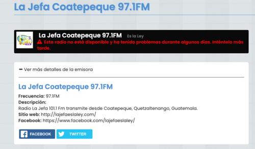 La emisora asegura trasmitir desde Coatepeque, Quetzaltenango y Guatemala. (Foto: captura de pantalla)