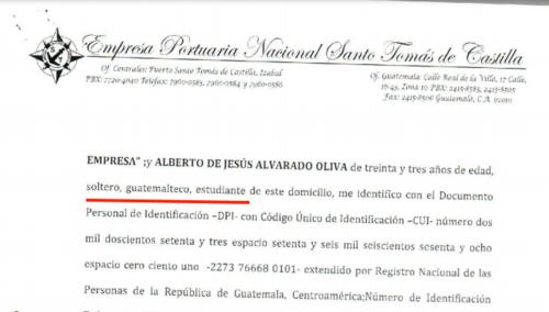 Alberto Alvarado se identifica como estudiante. (Imagen: Guatecompras)