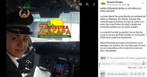 En el 2019 medios en Zacapa reconocieron la labor de la piloto que hoy fue detenida.