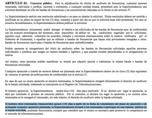 Artículo 61 de la Ley de Telecomunicaciones de Guatemala.