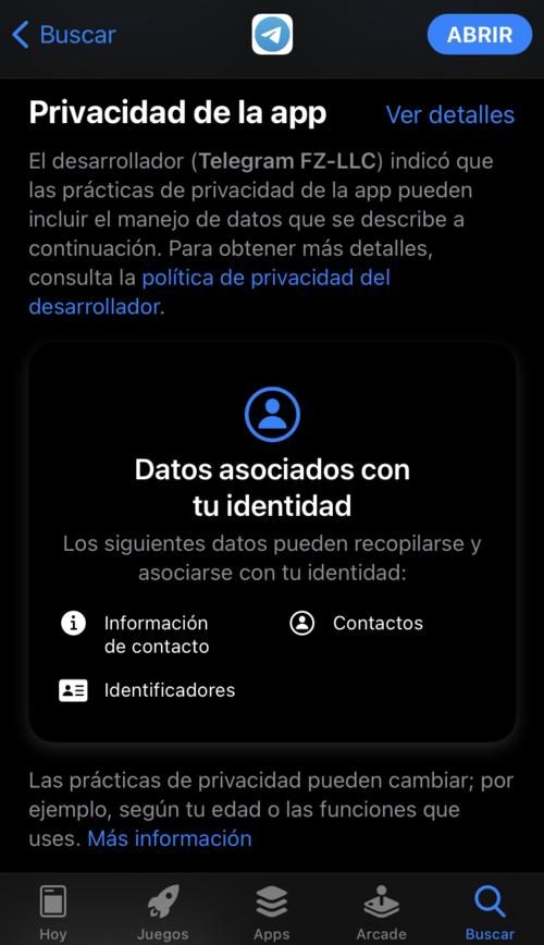 La información que utiliza Telegram en su plataforma.
