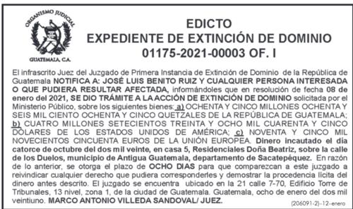 Esta es la notificación publicada en el Diario de Centroamérica.