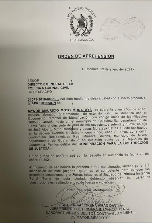 La orden de captura girada por la jueza Erika Aifán.