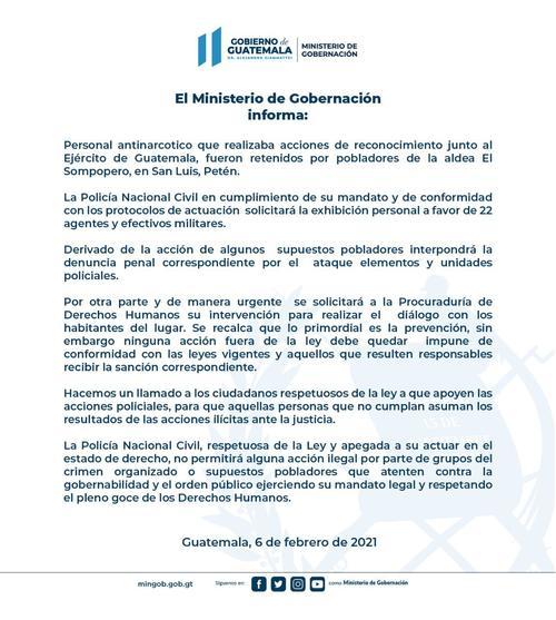 Comunicado de prensa del Ministerio de Gobernación por la retención de agentes de la PNC.
