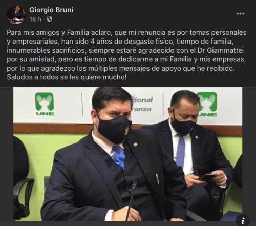 giorgio bruni, secretario privado de la presidencia, alejandro giammattei, guatemala, soy502
