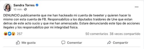 hackean cuenta de twitter de sandra torres