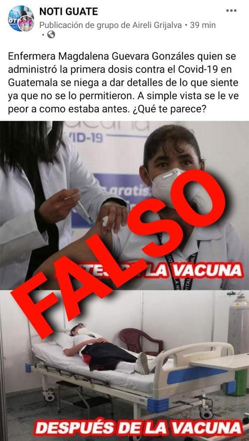 fake news, vacuna, covid-19, coronavirus, enfermera, efectos secundarios, guatemala