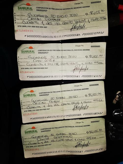 Los cheques decomisados en Mariscal Zavala. (Foto: Ministerio de Gobernación)