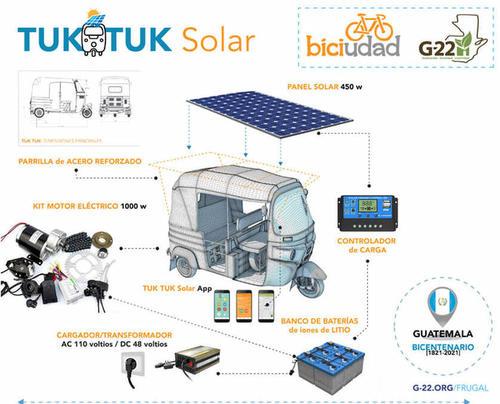 Así es la transformación que se le hace al tuk tuk solar. (Foto: G-22)