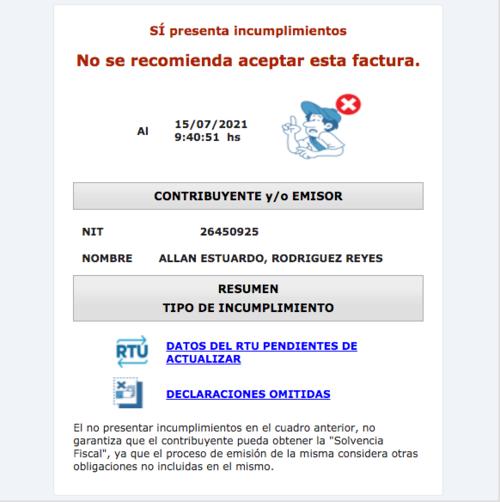 La SAT recomienda no usar las facturas de Rodríguez por aparecer moroso. (Foto: captura de pantalla, portal SAT)