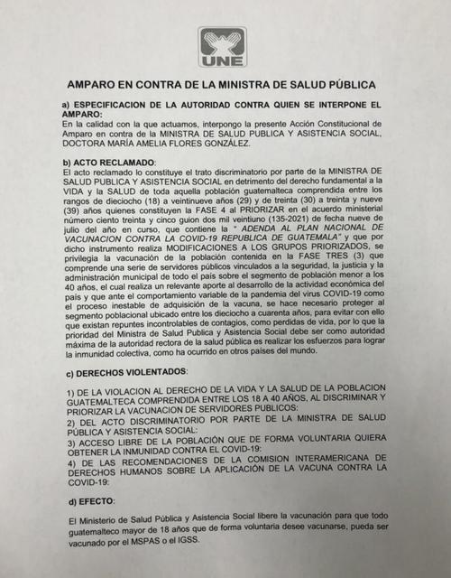 UNE acciona contra Ministra de Salud, exige liberar vacunas