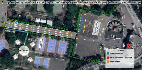Esta sería la distribución del centro de vacunación en el Campo Marte y Tribuna Militar. (Foto: Ejército de Guatemala)