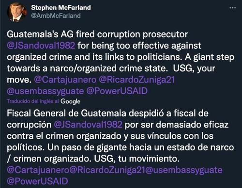 stephen mcfarland, juan francisco sandoval, narcoestado