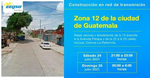 Eegsa estará realizando trabajos en la red de transmisión eléctrica en zona 12. (Foto: EEGSA)