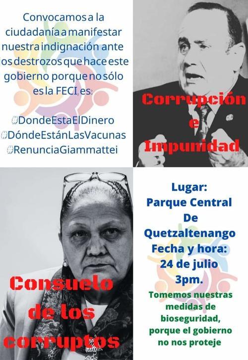Convocatoria para manifestación en Quetzaltenango. (Foto: cortesía)
