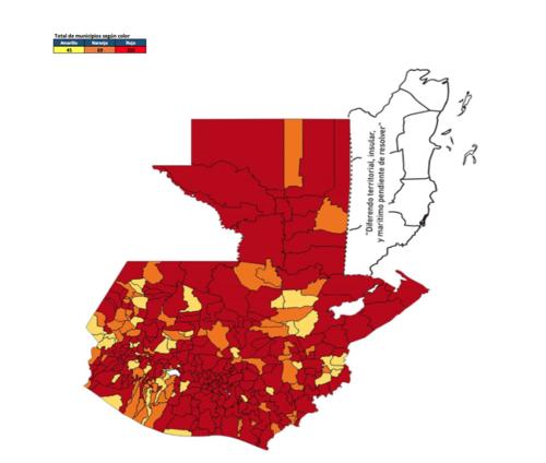 Casi tres cuartas partes del país están en alerta roja por Covid-19. (Gráfica: gobierno de Guatemala)