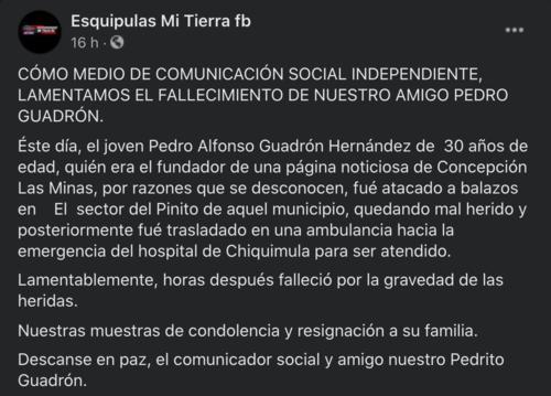 Pedro Alfonso Guadrón Hernández, periodista chiquimula, noticias digital chiquimula