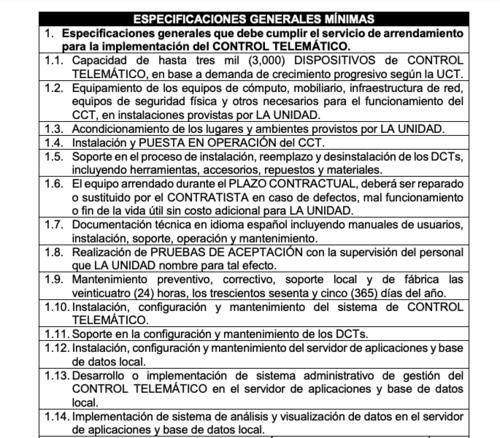 (Fuente: Oferta de licitación Guatecompras)