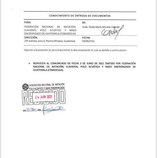 Gisela Morales envió una serie de documentos para argumentar los señalamientos contra la Fedenagua.