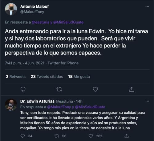 antonio malouf, edwin asturias, vacuna covid