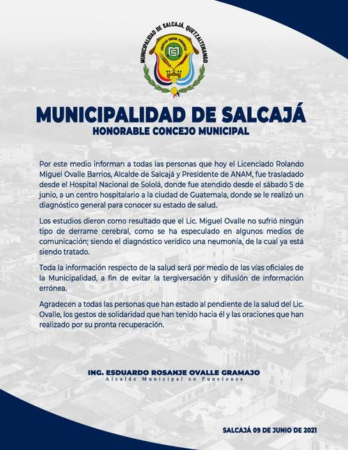 Miguel Ovalle, Municipalidad de Salcajá, derrame cerebral