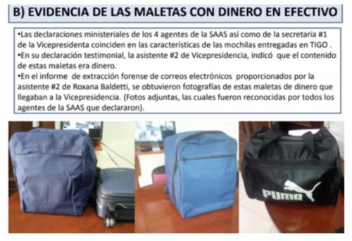 Según la FECI, en la vicepresidencia de la República se recibieron maletas con dinero en efectivo para repartir dinero a los diputados del partido patriota. (Diapositiva presentaciòn FECI/Cicig)