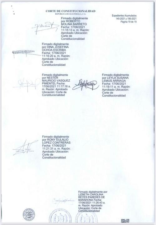 Firma de la resolución de la CC que anuló la investigación de FECI.