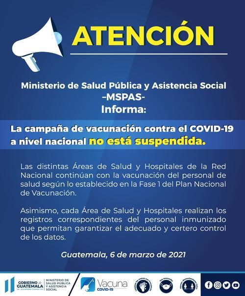 Comunicado de prensa del Ministerio de Salud. (Foto: MSPAS)