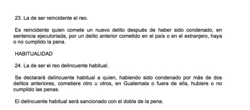 Definición del Código Penal acerca del reo reincidente y el delincuente habitual.