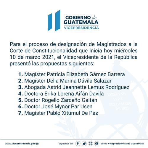 Vicepresidente, Guillermos Castillo, Candidatos, magistrados, CC
