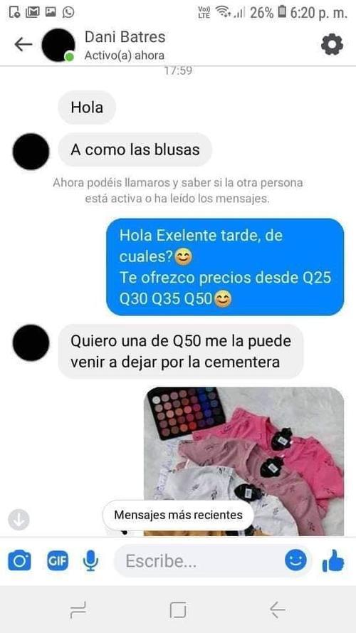 En el primer mensaje la persona preguntó el precio de las blusas. (Foto: Facebook Luis Sequen)