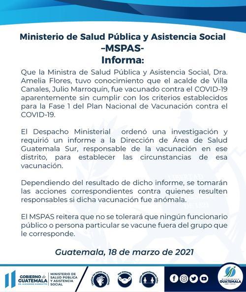 vacunas, covid, alcalde de Villa Canales, Julio Marroquín