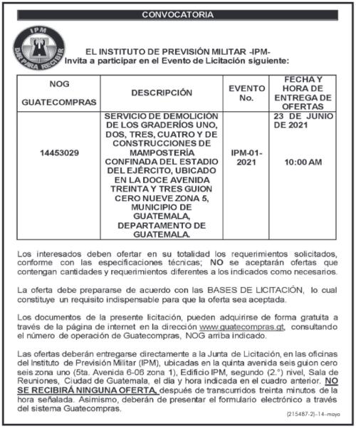 Anuncio de la licitación del IPM publicado en el Diario de Centroamérica (DCA) el 14 de mayo del 2021. (Foto: DCA)