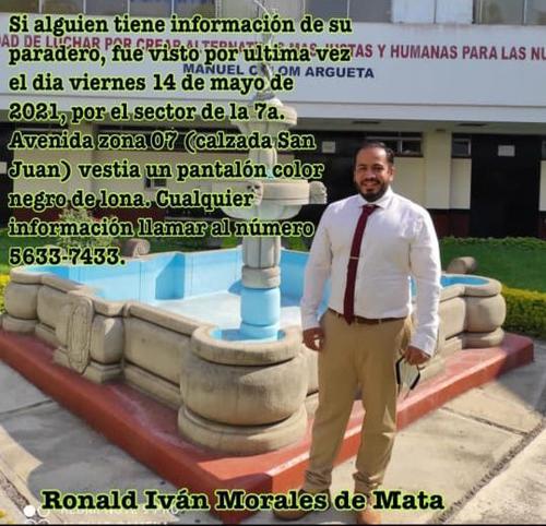 Buscan a Ronald Morales, desaparecido en la zona 7 capitalina