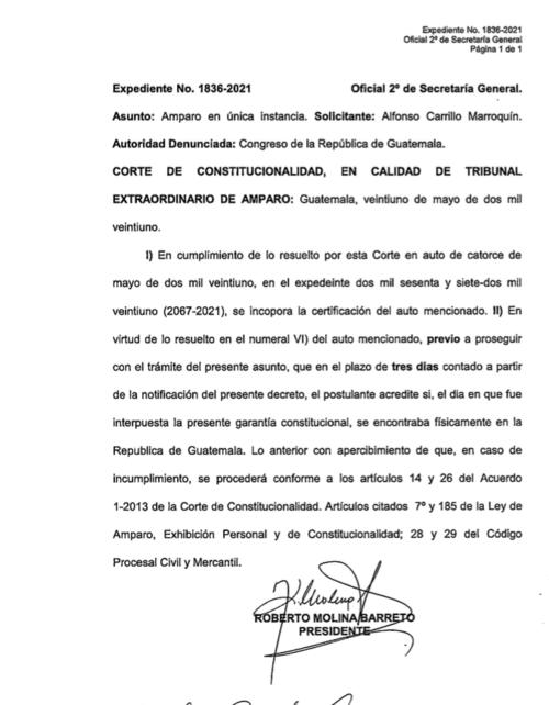 La resolución notificada al abogado Alfonso Carrillo.