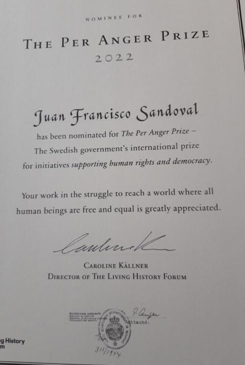 La nominación que compartió Juan Francisco Sandoval en redes sociales.