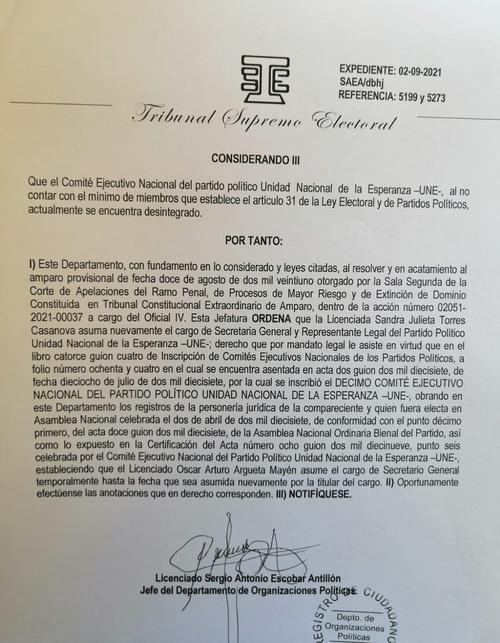 La resolución emitida a favor de Sandra Torres.