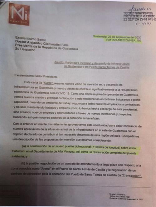 Carta enviada a Giammattei con sello de recibido